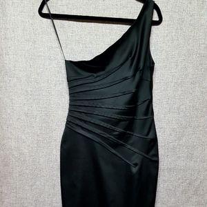 Cache One Shoulder Black Cocktail Dress Sz 10